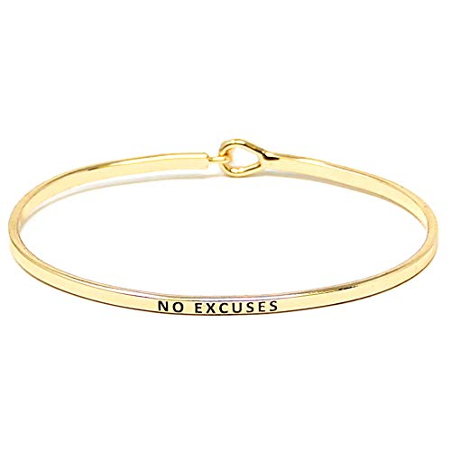 by you Inspirational Positive Message Engraved Thin Cuff Bangle Hook Bracelet (NO Excuses - Gold, Brass) ()