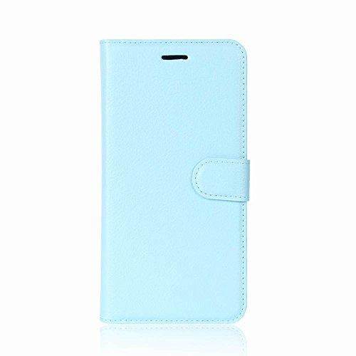 Lusee PU Caso de cuero sintético Funda para Huawei Y7 Cubierta con funda de silicona rojo azul