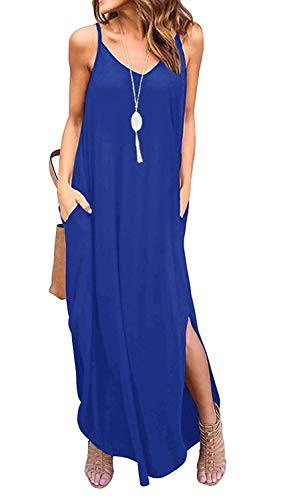 Sleeveless Strappy Cami Maxi Long Dress V Neck with Pockets Casual Summer Beach Skirt Cover Up Backless Side Slits Loose Solid Color for Women Blue XXL