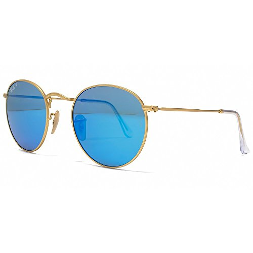955c9ee4a8 Ray-Ban Unisex Adult Round Metal Sunglasses in Matte Gold Blue Polarised Mirror  RB3447 112 4L 50 (B00LUQ28ZI)