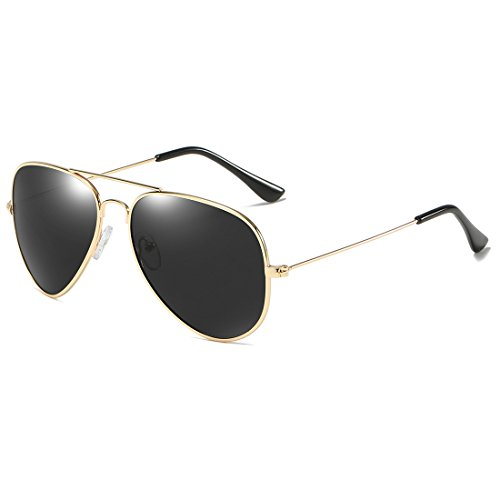COASION Classic Aviator Sunglasses for Men Women, Polarized Mirror Lens, 100%UV Protection with Leather Case - Black And Sunglasses Aviator Gold