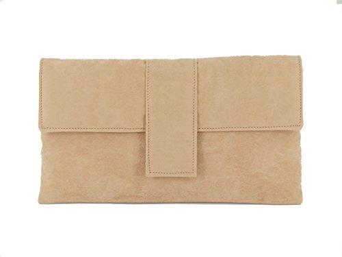 Loni Womens Elegant Faux Suede Clutch Bag/Shoulder Bag Occasion Wedding Party Prom Bag in nude (Nude Camel)