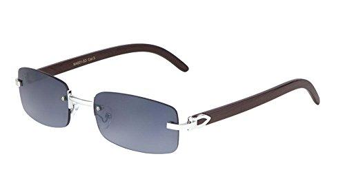 Dean Slim Rimless Rectangular Metal & Wood Aviator Sunglasses (Silver & Cherry Wood, ()