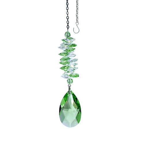 CrystalPlace Crystal Suncatcher 5 inch Ornament Light Green Almond Prism, Rainbow Maker Spiral Cascade Crystal Suncatcher Made with Swarovski Crystals
