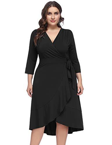 - Women Plus Size Wrap V Neck 3/4 Sleeve Ruffle Midi Fishtail Dresses 24W Black