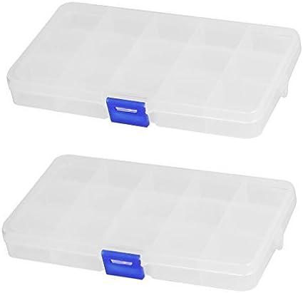Plastic 15 seções Jóias Parafusos Pills Titular Caixa de armazenamento 2pcs Limpar: Amazon.es: Oficina y papelería