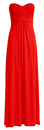 Crazy Girls Womens Boobtube Knot Front Bow Bandeau Maxi Long Dress (S/M-US6/8, Red)
