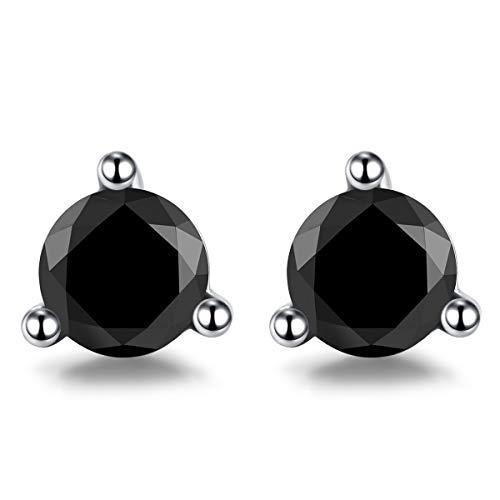 Vignye Sterling Silver Circular Cut Cubic Zirconia Stud Earrings, Fashionable Black Triangle Zirconia Earrings