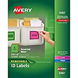 Avery Removable Multipurpose Labels, Assorted Neon, 3 1/3'' x 4''