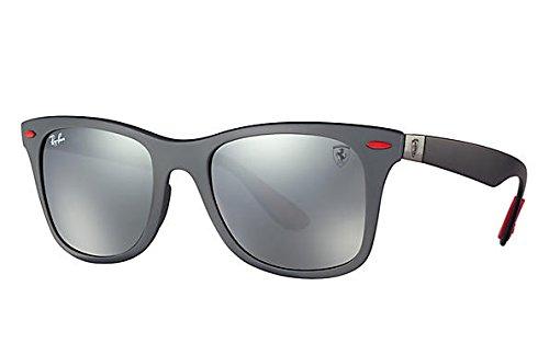 Ray-Ban RB4195M Scuderia Ferrari Collection Wayfarer Sunglasses, Matte Black/Polarized Purple Silver Mirror, 52 mm