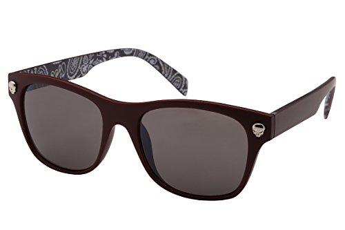 Edge I-Wear Horned Rim Skull Sunglasses with Solid Lens - M.rd Sunglasses