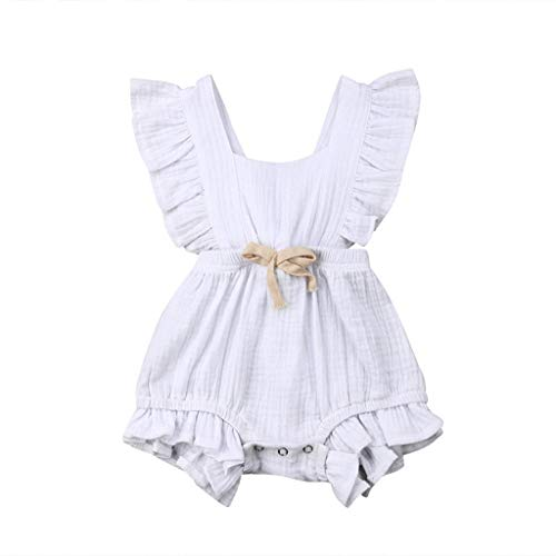 (Newborn Kids Baby Girls Cute Color Solid Tassels Romper Bodysuit Jumpsuit Infant Clothes Outfits 3M-24M White )