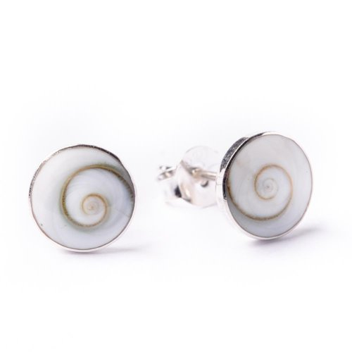 81stgeneration Women's .925 Sterling Silver Spiral White Shiva Eye Shell Round Studs Earrings