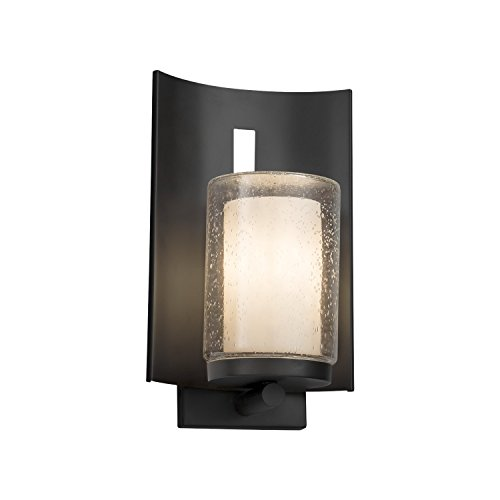 (Clouds - Embark 1-Light Outdoor Wall Sconce - Cylinder with Flat Rim Clouds Shade - Matte Black Finish - LED)