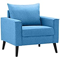 Mid-Century Modern Linen Fabric Armchair Living Room Accent Chair (Sky Blue)