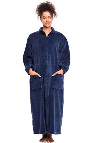 (Alexander Del Rossa Women's Zip Up Fleece Robe, Warm Loose Bathrobe, 1X 2X Navy Blue (A0300NBL2X) )