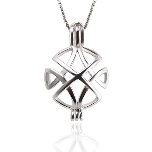 925 Sterling Silver Celtic Knot Cross Pendants for Women Jewelry Faith Hope Love Round Pearl Cage Pendants for DIY Jewelry ()
