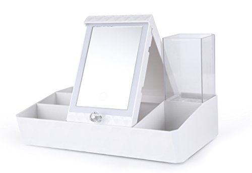 Pocket Makeup Mirror With LED Light (White) - 7