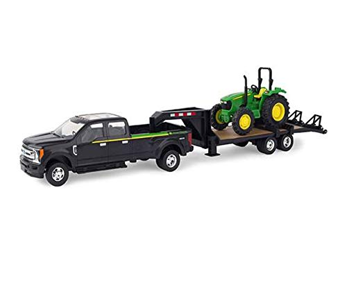Farm Toys F350 Pick up with 1:32 JD Tractor and Detachable 5th Wheel Trailer, 18 Inch L x 4 Inch W x 5 Inch H