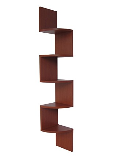 Cherry Color Finish - Stackable 5 Tier Oak Zig Zag Corner Wall Shelves - Cherry