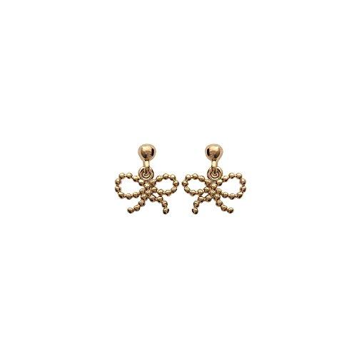 Boucles d'Oreilles Pendantes en Plaqué Or - Noeud Papillon - Bijoux Femme