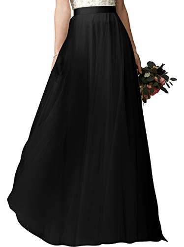 Chiffon Dress Full Skirt Prom (Lanierwedding Summer Beach Chiffon Long High Waist Maxi Skirt with Belt for Wedding 2017 (XS, Black 001))