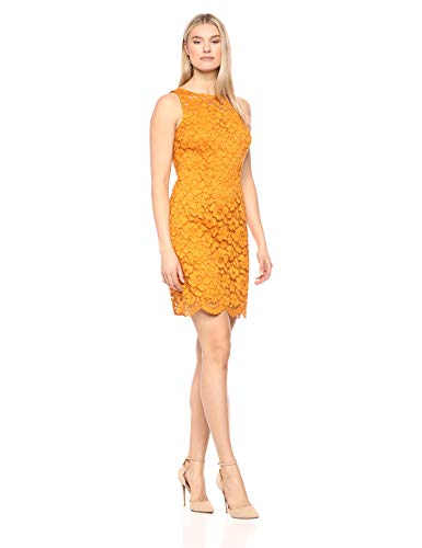 Amazon Brand - Lark & Ro Women's Sleeveless Crew Neck Lace Sheath Dress, Mustard, ()