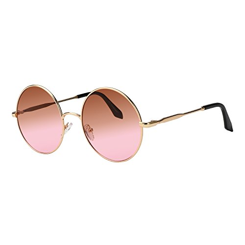 - ROYAL GIRL Round Sunglasses For Women Circle Metal Vintage Candy Color Glasses (brown pink, 2.36)