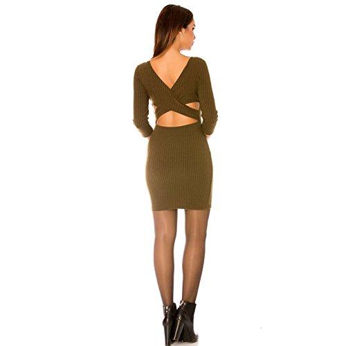 Miss Wear Line - Robe kaki à col rond, dos nus et manche 3/4