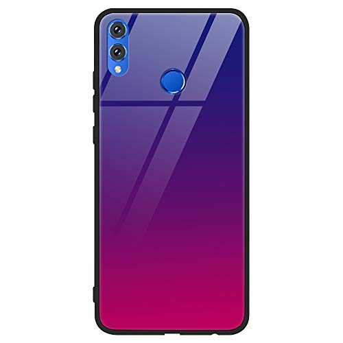 Eouine Huawei Honor 8X Case, [Anti-Scratch] Shockproof Patterned Tempered Glass Back Cover Case with Soft Silicone Bumper for Huawei Honor 8X Smartphone (Purple Rose)