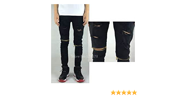 Amazon Com Skinny Ripped Jeans For Men Distressed Biker Kanye West Hba Brand Hip Hop Zip Slim Tyga Swag Pants Everything Else
