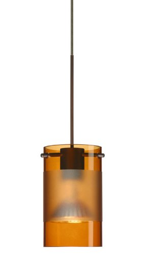 Besa Lighting RXP-6524EG-BR Scope Collection 1-Light Rail-Ready Mini-Pendant Element, Bronze Finish with Transparent Armagnac/Frost Glass Shade