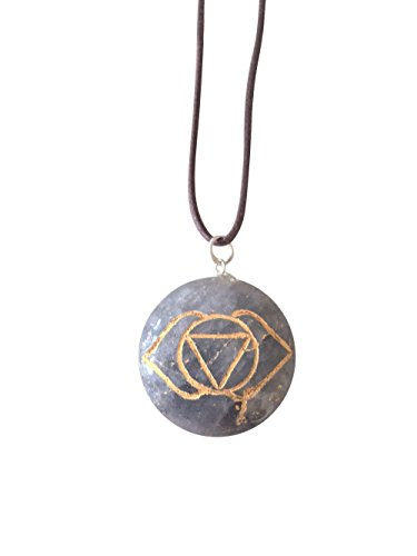 Mirabella Artisan Crafted Natural Gemstone Disc Chakra Symbol Pendant Necklace ~ Handmade Jewellery Ethically Sourced ~ Gift Box (Sodalite - Third Eye Chakra) - Gemstone Crown Necklace