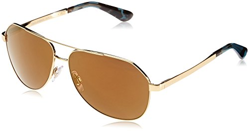 Dolce & Gabbana Women's Sicilian Taste Non-Polarized Iridium Aviator Sunglasses, Gold, 61.1 mm