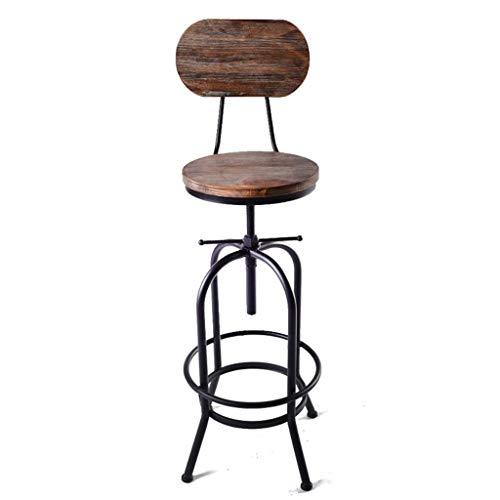 Home Indoor Barstools, Metal Industrial Barstool with Backrest Adjustable Indoor Swivel Stool