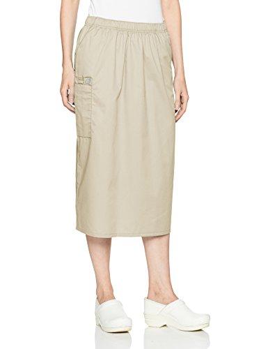 Long Cargo Skirt - WonderWink Women's Wonderwork Pull-on Cargo Scrub Skirt, Khaki, Large