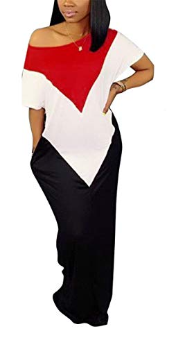Womens Summer Street Fashion Off Shoulder Short Sleeve Color Block Stiching Loose Draped Oversized Pockets Party Club Boho Maxi Sheer OL Dress White & Red L
