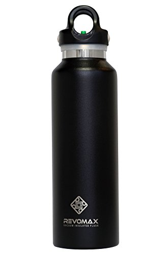 Black Cube Onyx (RevoMax Twist Free Insulated Stainless Steel Water Bottle with Standard Mouth, 20 oz, Onyx Black)