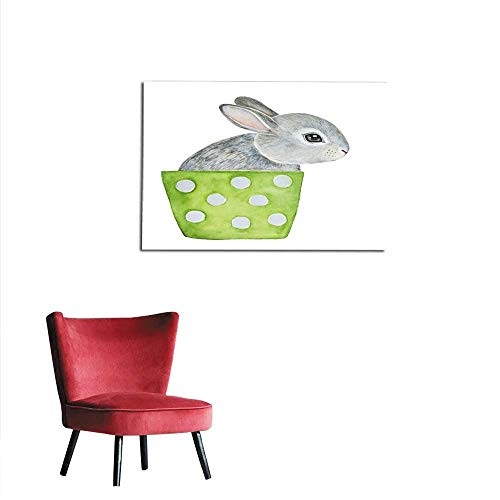 Flower Polish Pot (homehot Photo Wall Paper Cute Fluffy Little one Grey Bunny Sitting in Lime Green Polka dots Flower Pot Hello Welcome Spring Greeting Card Banner Poster Mural 28