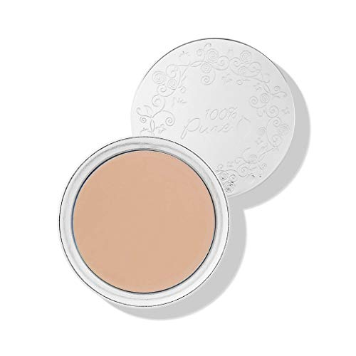 100% PURE Fruit Pigmented Cream Foundation, Sand, Full Coverage Foundation, Anti-Aging, Matte Finish, Vegan Makeup (Light, Medium with Neutral Undertone) - 1 Fl Oz