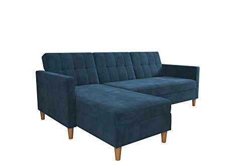 DHP 2112669 Hartford Storage Sectional Futon with Interchangeable Chaise, Blue Chenille