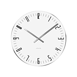 Present Time Karlsson Wall Clock Slim Index Glass with Mirror Edge, White