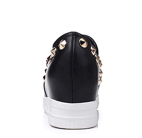 LDMB Printemps et l'automne rivets mi Wedge chaussures à talons unique chaussures cusp occasionnels chaussures de cour de dames , black , 39