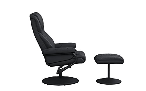 Office Swivel Chair with Footstool, Faux Leather Reclining Executive and Gaming Chairs (Black)
