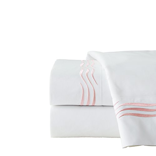Pointehaven 300 Thread Count Wave Embroidered Sheet Set - Cal King Blush,