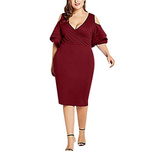 (Formal Dress for Women Plus Size,SMALLE◕‿◕ Women's Wrap Dress Ruffle Cold Shoulder Cocktail A-Line Dress Wine)