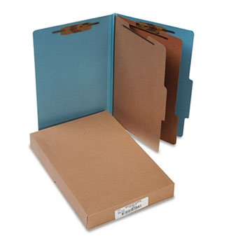 ACCO 16026 Pressboard 25-Pt Classification Folders, Legal, 6-Section, Sky Blue, 10/Box ()
