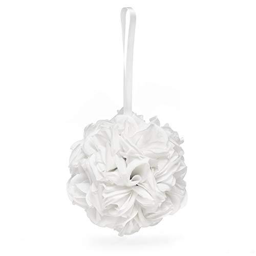 23pk White Rose Kissing Ball-Flower Girl Baskets ()