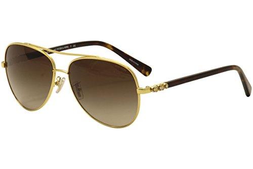 Coach Womens Sunglasses Gold/Brown Metal - Non-Polarized - 59mm