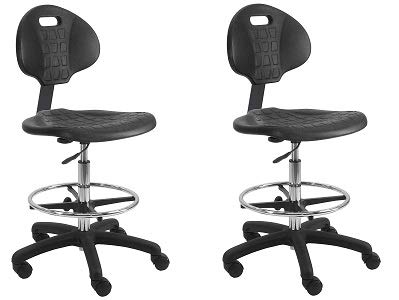 BenchPro Urethane Tall Chair with Footring and Single Lever Control - 22''-32'' Adjustable Height x 18.5'' Width x 18.0'' Length - Black (2-(Pack))